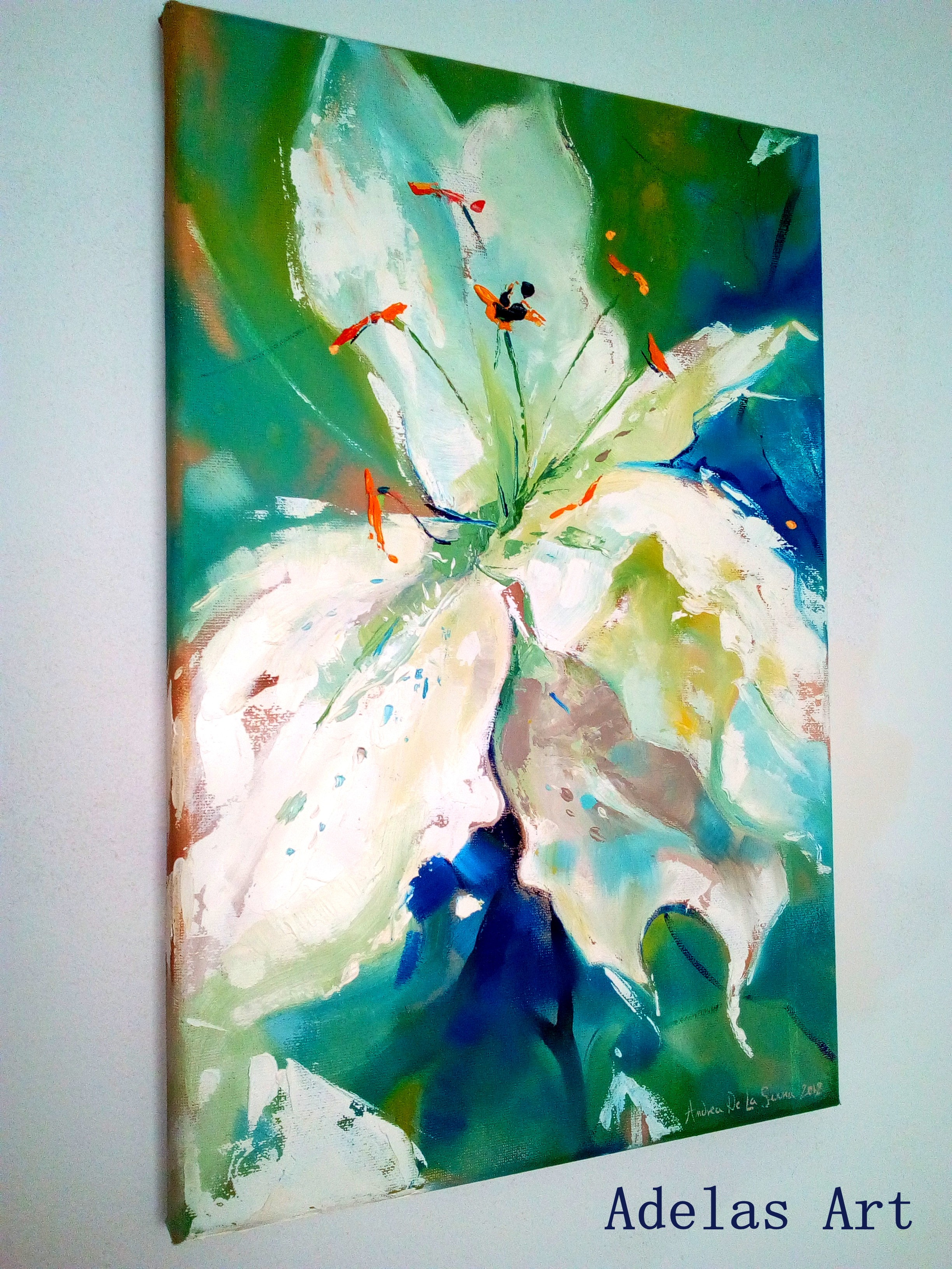 """White lilly"" by  Adelas Art - side view"
