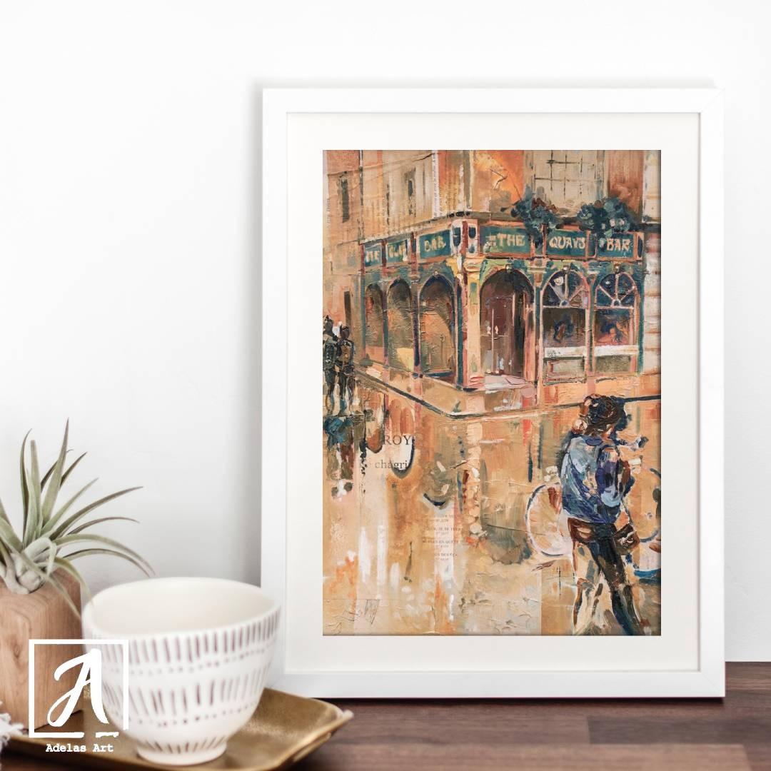 Original Artwork of Temple Bar created in Dublin, Ireland - Adelas Art