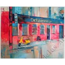 """Delaney's Pub under the rain"" by Adelas Art - front view"