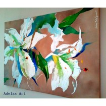 """White lillies"" by Adelas Art - side view"
