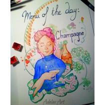 """Menu of the Day: Champagne"" by Adelas Art - front view"