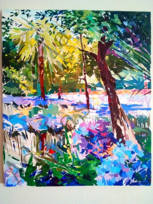 """""""Garden of Agapanthus in Seville"""" by Adelas Art - front view"""