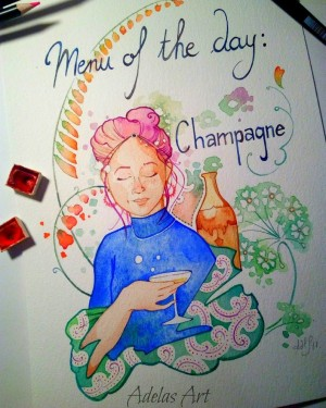 """""""Menu of the Day: Champagne"""" by Adelas Art - front view"""
