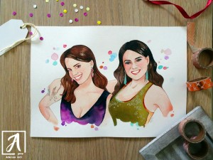 Watercolour custom portrait by Adelas Art - Front view