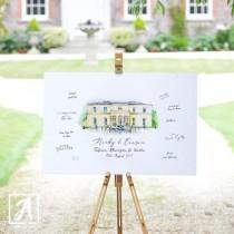 Custom Watercolour Wedding Venue Painting